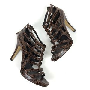 Brown Animal Print Faux Leather Cage Sandal Heels